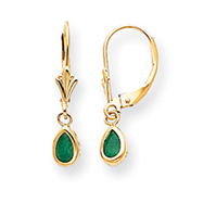 14K Gold Emerald Earrings - May