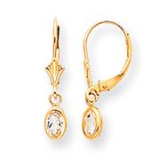 14K Gold Oval Bezel April White Zircon Leverback Earrings