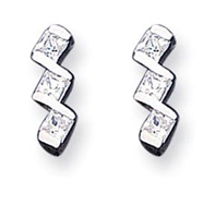 Sterling Silver 3 Princess Cut CZ Post Earrings