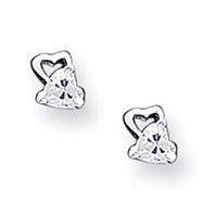Sterling Silver CZ Heart Post Earrings