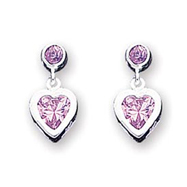 Sterling Silver Pink Heart  CZ Earrings