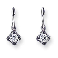Sterling Silver Antiqued CZ Earrings