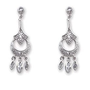 Sterling Silver CZ Chandelier Earrings