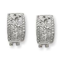 Sterling Silver CZ Vintage Omega Back Earrings