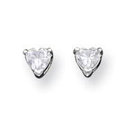 Sterling Silver 4mm Heart CZ Stud Earrings