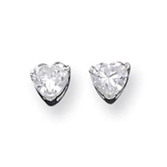 Sterling Silver 5mm Heart CZ Stud Earrings