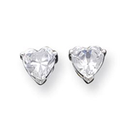 Sterling Silver 6mm Heart CZ Stud Earrings