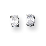 Sterling Silver 3x5mm Oval CZ Stud Earrings
