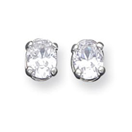 Sterling Silver 6x8mm Oval CZ Stud Earrings