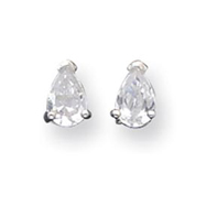 Sterling Silver 4x7mm Pear CZ Stud Earrings