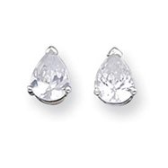 Sterling Silver 5x7mm Pear CZ Stud Earrings