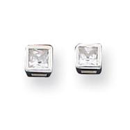 Sterling Silver 3mm CZ Princess Bezel Stud Earrings
