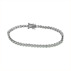 Sterling Silver Rhodium Plated Bezel Set CZ 3mm Tennis Bracelet