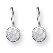 Sterling Silver 5mm CZ Kidney Wire Bezel Earrings