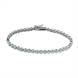 Sterling Silver Rhodium Plated Bezel Set CZ 4mm Tennis Bracelet