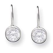 Sterling Silver 6mm CZ Kidney Wire Bezel Earrings