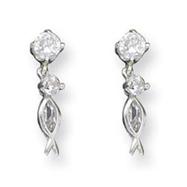 Sterling Silver Cz Dangle Fish Earrings