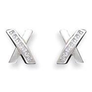 Sterling Silver CZ X Design Post Earrings