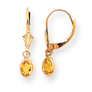 14K Oval Bezel November Citrine Leverback Earrings
