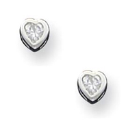 Sterling Silver 3mm CZ Heart Bezel Stud Earrings