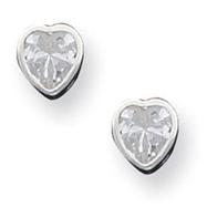 Sterling Silver 5mm CZ Heart Bezel Stud Earrings