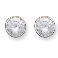 Sterling Silver 10mm CZ Round Bezel Stud Earrings