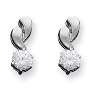 Sterling Silver Dangling CZ Earrings