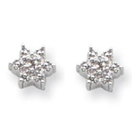 Sterling Silver Star With Diamond Earrings