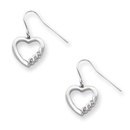 Sterling Silver Heart Diamond Earring