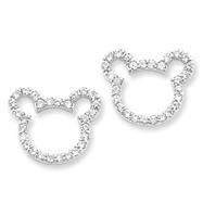 Sterling Silver CZ Teddy Bear Earrings