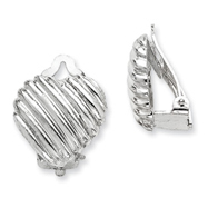 Sterling Silver Heart Clip Back Non-Pierced Earrings