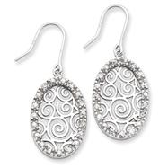 Sterling Silver CZ Swirl Earrings