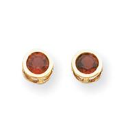 14K Gold Bezel Garnet Stud Earrings