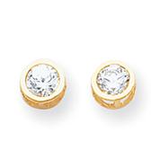 14K Gold Bezel Aquamarine Stud Earrings