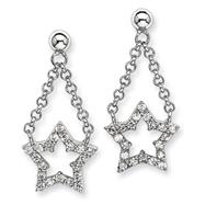 Sterling Silver CZ Star Dangle Post Earrings