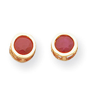 14K Gold Bezel Ruby Stud Earrings
