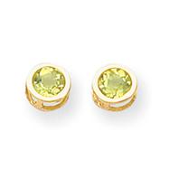 14K Gold Bezel Peridot Stud Earrings
