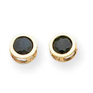 14K Gold Bezel Sapphire Stud Earrings