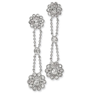 Sterling Silver CZ Floral Post Earrings