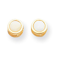 14K Gold Bezel Opal Stud Earrings
