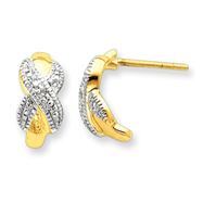 Sterling Silver Vermeil Diamond Accent Post Earrings