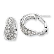Sterling Silver CZ Omega Back Earrings