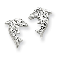 Sterling Silver With Swarovski Crystal Dolphin Earrings
