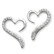 Sterling Silver With Swarovski Crystal Heart Earrings