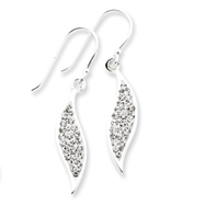 Sterling Silver With Swarovski Crystal Leaf Earrings