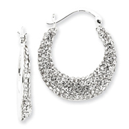 Sterling Silver With Swarovski Crystal Hoop Earrings