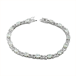 Sterling Silver Long X and O Bracelet with White CZ