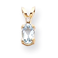 14K Gold Diamond & Aquamarine Birthstone Pendant