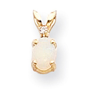 14K Gold Diamond & Opal Birthstone Pendant