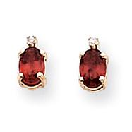 14K Gold Diamond & Garnet Birthstone Pendant